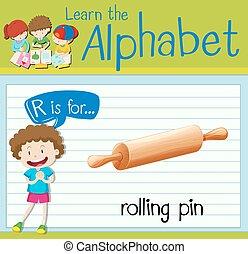 flashcard, letra, r, é, para, alfinete rolante