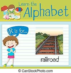 flashcard, letra, r, é, para, ferrovia