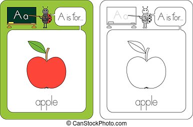 Flashcard for English language - letter A is for apple