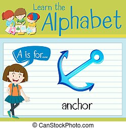 Flashcard letter A is for anchor illustration