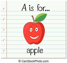 Flashcard letter A is for apple