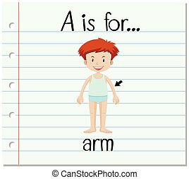 Flashcard letter A is for arm