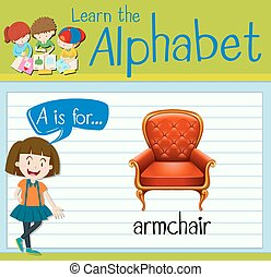Flashcard letter A is for armchair illustration