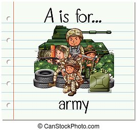 Flashcard letter A is for army