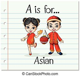 Flashcard letter A is for Asian