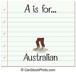 Flashcard letter A is for Australian
