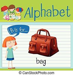 Flashcard letter B is for bag illustration
