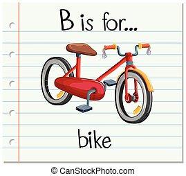 Flashcard letter B is for bike illustration