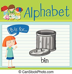 Flashcard letter B is for bin illustration