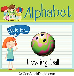 Flashcard letter B is for bowling ball illustration