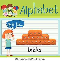 Flashcard letter B is for bricks illustration