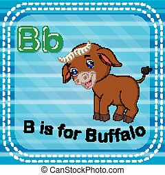 Flashcard letter B is for buffalo - illustration of...