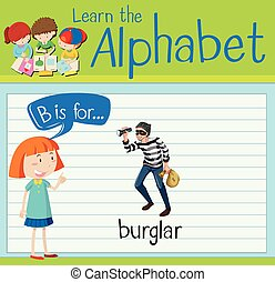 Flashcard letter B is for burglar illustration