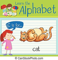 Flashcard letter C is for cat