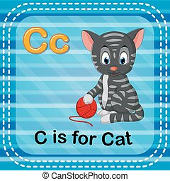 Flashcard letter C is for cat - illustration of Flashcard...