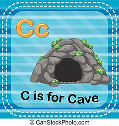 Flashcard letter C is for cave - illustration of Flashcard...