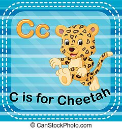 Flashcard letter C is for cheetah - illustration of...