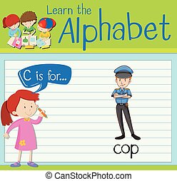 Flashcard letter C is for cop illustration