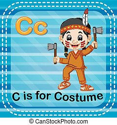 Flashcard letter C is for costume - illustration of...