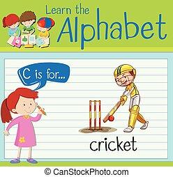Flashcard letter C is for cricket illustration