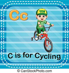 Flashcard letter C is for cycling - illustration of...