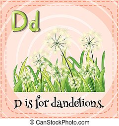 Flashcard letter D is for dandelions