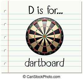 Flashcard letter D is for dartboard