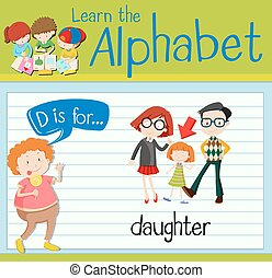 Flashcard letter D is for daughter