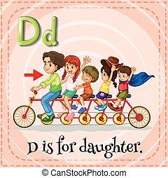 Flashcard letter D is for daughter illustration