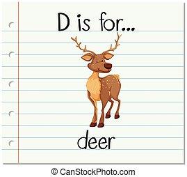 Flashcard letter D is for deer