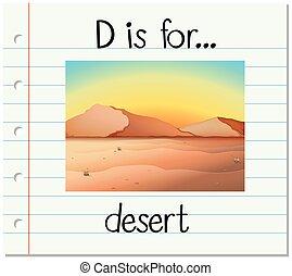 Flashcard letter D is for desert
