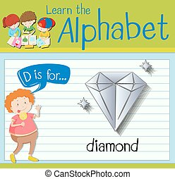 Flashcard letter D is for diamond