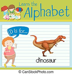 Flashcard letter D is for dinosaur illustration