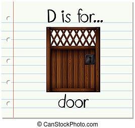 Flashcard letter D is for door