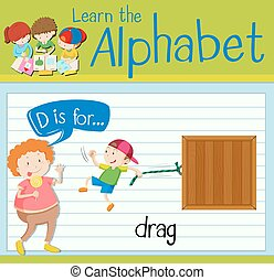 Flashcard letter D is for drag illustration