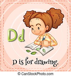 Flashcard letter D is for drawing