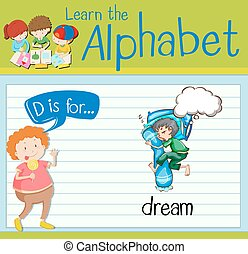 Flashcard letter D is for dream illustration