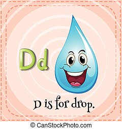 Flashcard letter D is for drop