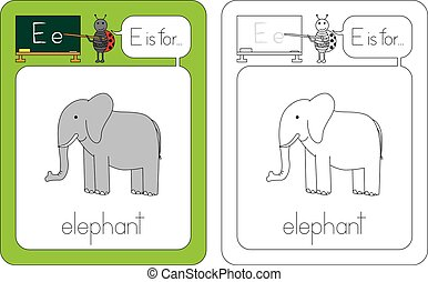 Flashcard for English language - letter e is for elephant