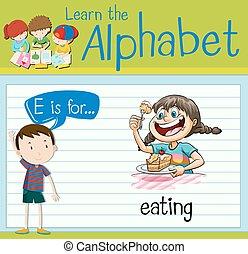 Flashcard letter E is for eating illustration