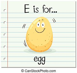 Flashcard letter E is for egg illustration