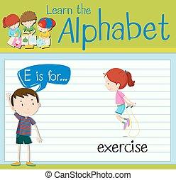 Flashcard letter E is for exercise illustration