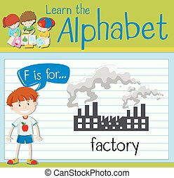 Flashcard letter F is for factory illustration