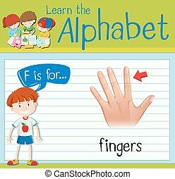 Flashcard letter F is for fingers illustration
