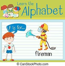 Flashcard letter F is for fireman illustration