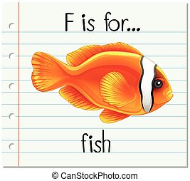 Flashcard letter F is for fish illustration
