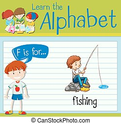 Flashcard letter F is for fishing illustration