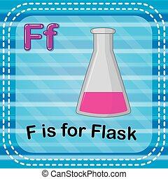 Flashcard letter F is for flask - illustration of Flashcard...