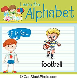 Flashcard letter F is for football illustration