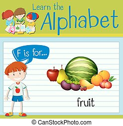 Flashcard letter F is for fruit illustration